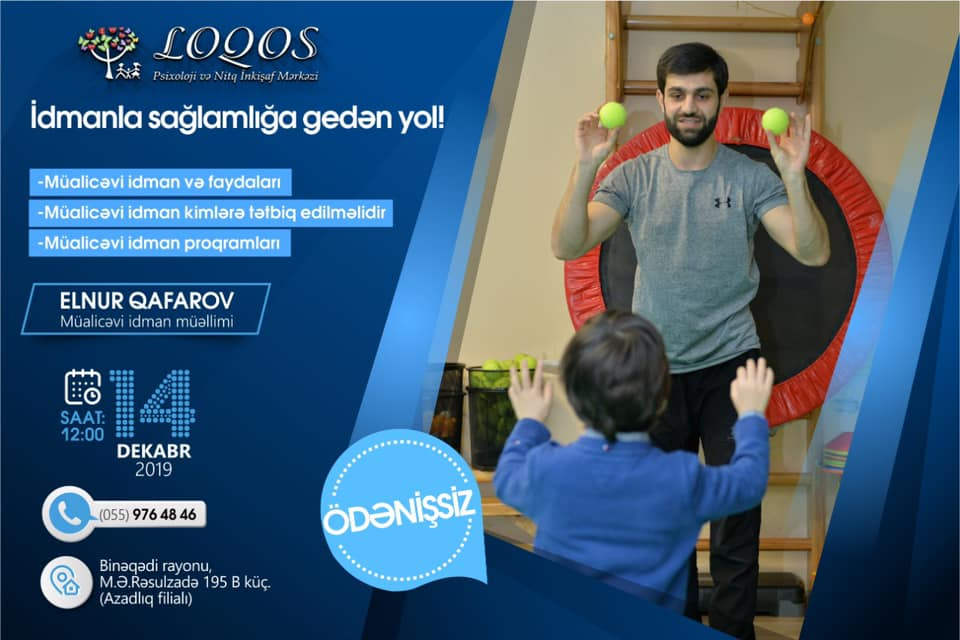 14 Dekabr tarixində Mərkəzdə ödənişsiz müalicəvi idman seminarı keçiriləcək.