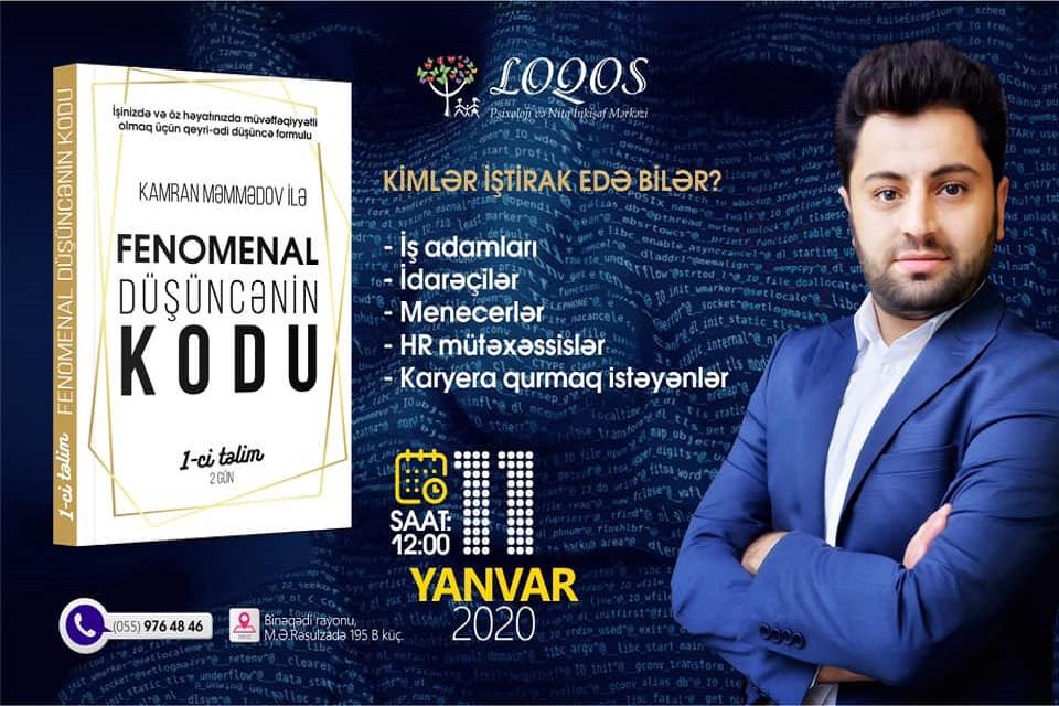 2020-ci ilin ilk və ən maraqlı təliminin qeydiyyatına start veririk!