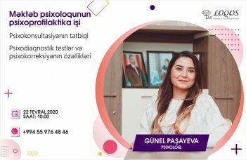 """Mərkəz 22 fevral 2020 tarixində """"Məktəb Psixoloqunun Psixoprofilaktika İşi"""" adlı təlim təşkil edəcək."""