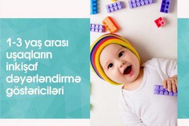 1-3 yaş arası uşaqların inkişaf dəyərləndirmə göstəriciləri hansılardır?