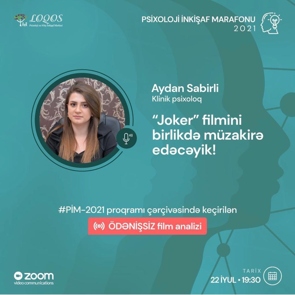 Psixoloji İnkişaf Marafonu 2021 çərçivəsində keçiriləcək ilk ÖDƏNİŞSİZ FİLM ANALİZİ!